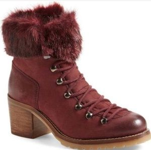 Steve Madden Huck Burgundy Fur Lace Up Booties 8.5